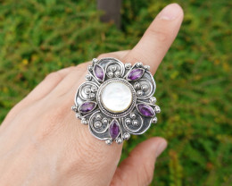 15.53g - 925 Sterling Silver Rings with Natural Stone / JW194
