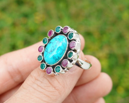 7.92g - 925 Sterling Silver Rings with Turquoise Stone / JW208