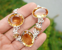 27.54g - 925 Sterling Silver Bracelet with Citrine Stone / JW213