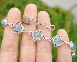 12.48g - 925 Sterling Silver Bracelet with Aquamarine Stone / JW217