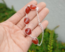 7.50g - 925 Sterling Silver Bracelet with Red Coral Stone / JW218