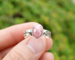 3.78g - 925 Sterling Silver Rings with Pink Opal Stone / JW7.5