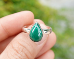 36.84g - 925 Sterling Silver Rings with Natural Malachite Stone / JW224