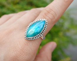 6.91g - 925 Sterling Silver Rings with dyed Labradorite Stone / JW227