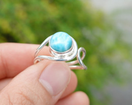 3.70g - 925 Sterling Silver Rings with Natural Larimar Stone / JW231
