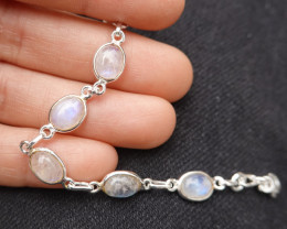 6.21g - 925 Sterling Silver Bracelet with Natural Moonstone Stone / JW237