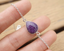 3.40g - 925 Sterling Silver Bracelet with Natural Crystal Stone / JW239