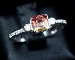 11.94Carats Natural top bi Color Amazing Tourmaline 925 Silver Ring