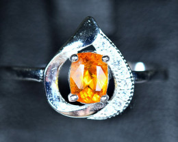 7.45Carats Natural top Clinohumite 925 Silver Ring size-8