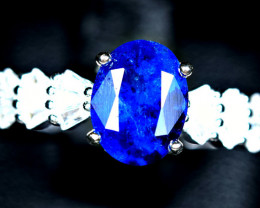 11.69Carat Natural worthy top blue rare afghanite ,CZ 925 Silver Ring size-