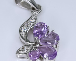 13.34 Crt Natural Amethyst With Cubic Zirconia 925 Silver Pendant