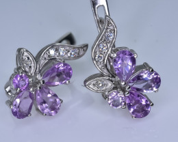 29.33 Crt Natural Amethyst With Cubic Zirconia 925 Silver Earrings