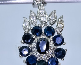 19.35 Crt Natural Sapphire With Cubic Zirconia 925 Silver Pendant