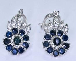 44.25 Crt Natural Sapphire With Cubic Zirconia 925 Silver Earrings
