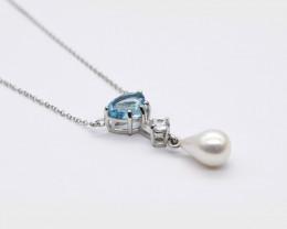 Aquamarine, Zircon & Teardrop Pearl Necklace