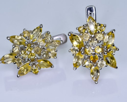 46.54 Crt Natural Citrine 925 Silver Earrings