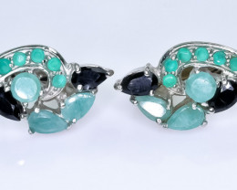 27.88 Crt Natural Emerald and Sapphire 925 Silver Earrings