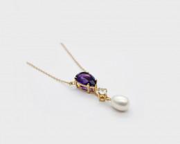 Amethyst, Zircon & Baroque Pearl Necklace