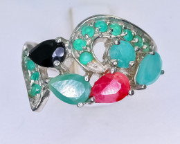 21.30 Crt Natural Emerald and Sapphire & Ruby 925 Silver Ring