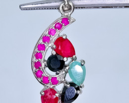 19.80 Crt Natural Emerald and Ruby $ Sapphire 925 Silver Pendant