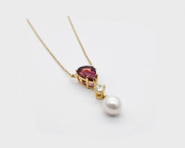 Pink Tourmaline, Zircon & Baroque Pearl Necklace