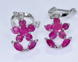 22.18 Crt Natural Ruby 925 Silver Earrings