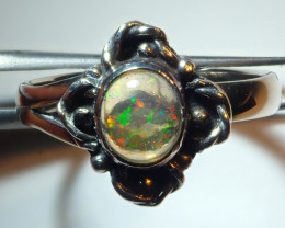 7.25sz Mexican Opal .925 Sterling Silver Ring