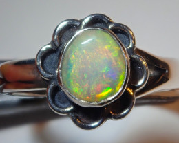5.75size Natural Ethiopian Welo Opal .925 Sterling Silver