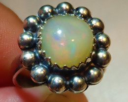 5.75size Natural Ethiopian Welo .925 Sterling Silver Ring