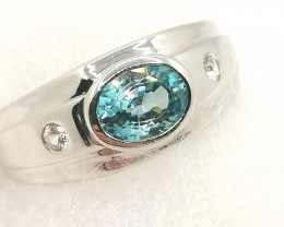 Gents Blue and White Zircon Ring 2.12 TCW