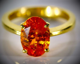 Mandarin Spessartine 4.01ct Solid 22K Yellow Gold Ring