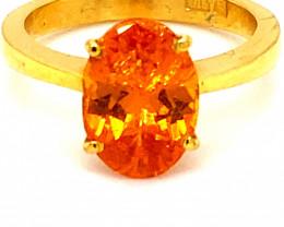 Mandarin Spessartine 4.01ct Solid 22K Yellow Gold Ring