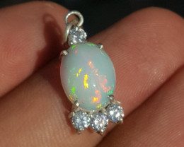 Natural Opal with CZ Pendent.