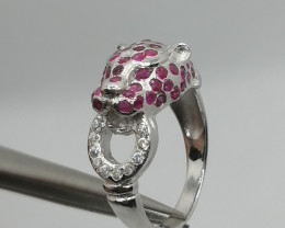 Natural Ruby Ring  and CZ.