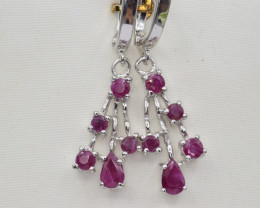 Natural Ruby and 925 Silver Earring, Elegant Design