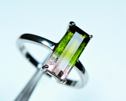100% Natural top Color Amazing huge size bi Tourmaline 925 Silver Ring size