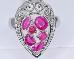 21.56 Crt Natural Ruby 925 Sterling Silver Ring