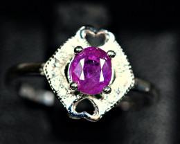 100%Natural top color precious Ruby 925 Silver Ring