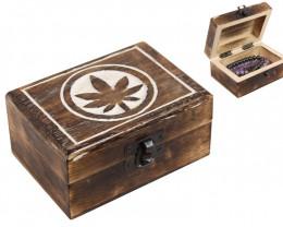 Mini chest Mango Wood Leaf Jewelry  Box code BOXLEAF