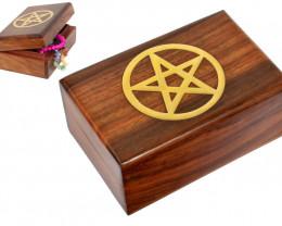 Gold Inlay Pentagon  treasuresWood Jewelry  Box code BOXPENG