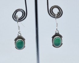 GREEN ONYX EARRINGS 925 STERLING SILVER NATURAL GEMSTONE JE29