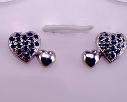 Lovely Heart shape Sapphire Ear studs.