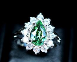 Natural top transparent Green Tourmaline ,CZ 925 Silver Ring size-8