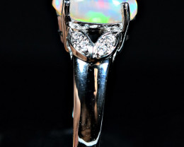 Natural Multi Flashy Fire Opal Cabochon ,CZ 925 Silver Ring size -6