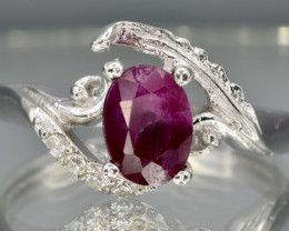 Natural bicolor Ruby and 925 Silver Ring