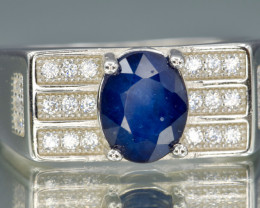 Heated Natural Blue Sapphire, CZ and 925 Silver Ring (Gents)