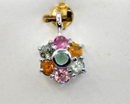 Natural Tourmaline and 925 Silver Pendant, Elegant Design