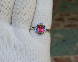 18.00 Carat rubilite tourmaline with cz 925 Silver Ring, 7 ring size.