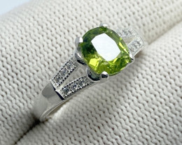 Natural Green Chrysolite (Peridot) CZ Ring 925 Sterling Silver (OCT01)