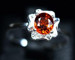 Natural top color spessertite garnet 925 Silver ring